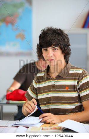 Portrait of a teenager in classroom