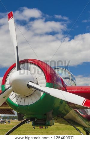Propeller Blades of Sportive Aeroplane YAK-52 on display During Aviation Event Dedicated to the 80th Anniversary of DOSAAF Foundation in Minsk poster