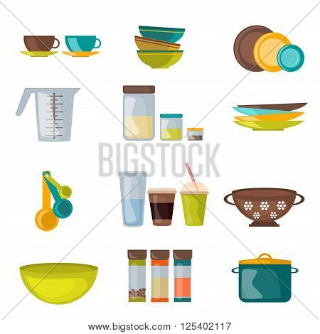 Kitchenware and utensil flat vector. Kitchen cook equipment and kitchenware chef design. Kitchen utensils, home kitchen appliances and restaurant kitchen tools.  Household cuisine interior housewares.