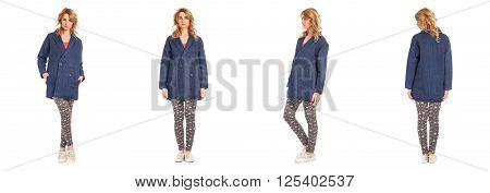 Teenage girl posing in sexy leggins isolated