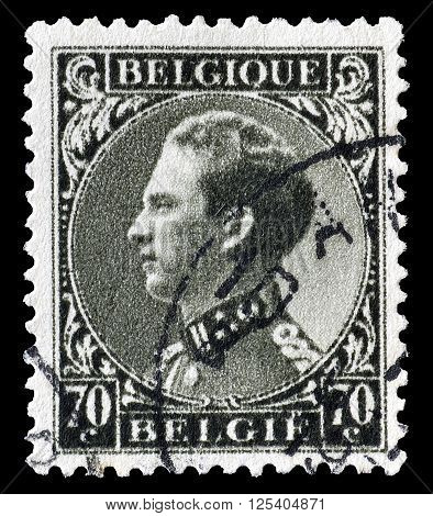 BELGIUM - CIRCA 1934 : Cancelled postage stamp printed by Belgium, that shows king Leopold.