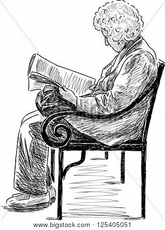 Vector sketch of an elderly woman rteads on a park bench.