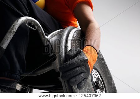 Man on the wheelchair. Sport for the disabled.