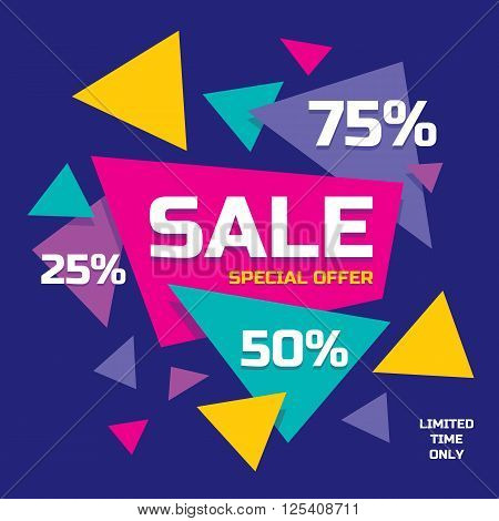 Sale concept vector banner - special offer - 25, 50, 75 % sale. Sale banner with abstract triangle elements. Sale abstract background. Super big sale layout design. Sale geometric banner template.