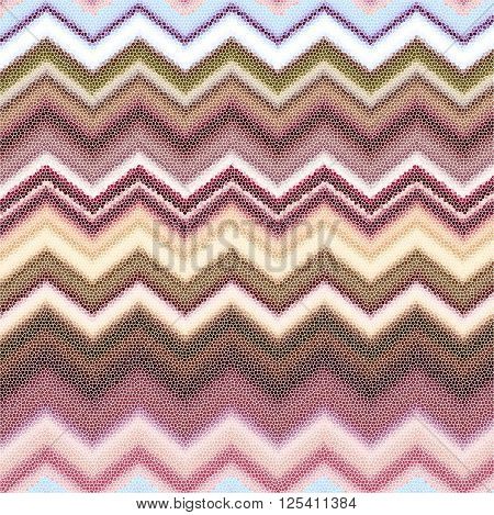 Abstract horizontal background with colorful zigzags: pastels muted tones mosaic.