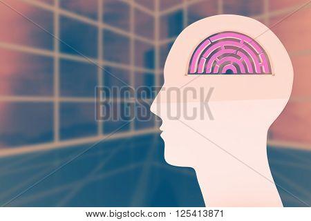 Maze brain in head against cityscape seen through window