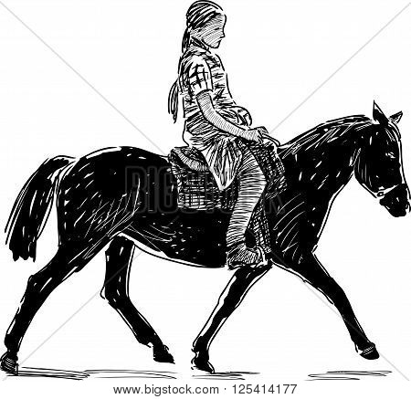 Vector drawing of a little girl rides on the horse.