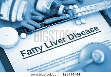 Fatty Liver Disease - Medical Report with Composition of Medicaments - Pills, Injections and Syringe. 3D Render.