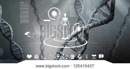 Fitness interface against view of dna