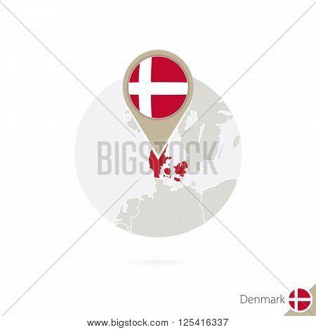 Denmark map and flag in circle. Map of Denmark Denmark flag pin. Map of Denmark in the style of the globe. Vector Illustration. poster