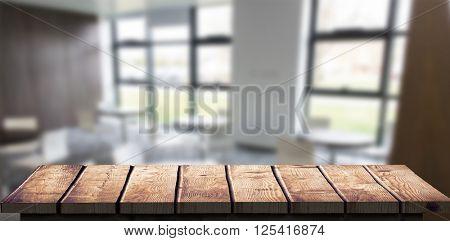 Wooden floor against college