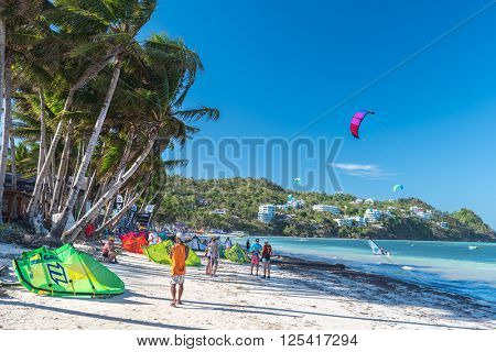 Boracay island, Philippines - January 25: strong wind at Bulabog beach, one of the most sought-after spots for kiteboarding and windsurfing, on January 25, 2016, Boracay island, Philippines.