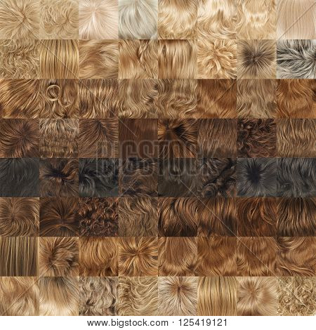 Multiple hair textures as a set of a backgrounds or a seamless backdrop pattern