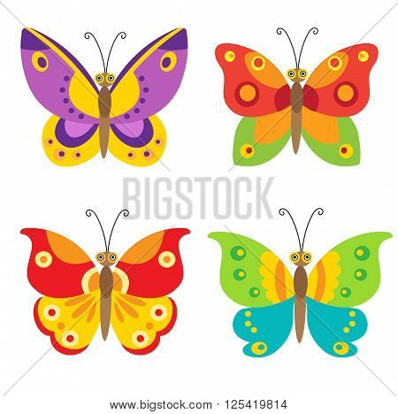 Butterfly Vector Set Icons. Set Of Simple Flying Butterfly. Vector Butterfly. Colorful Butterfly Set. Cartoon Butterfly For Children. Flying Butterfly Toy. Flying Butterfly Drawing. Butterfly Model.