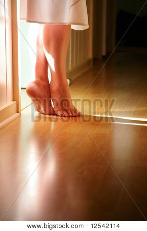 female legs standing on toes on hardwood floor poster