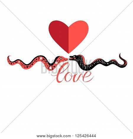Funny graphic love Moray on white background