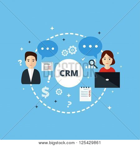 Customer Relationship Management. Vector illustration. Concept of the organization of data on work with clients. CRM and accounting system.