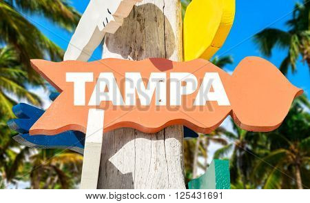 Tampa signpost with palm trees