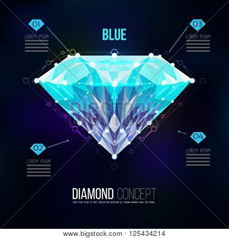 Blue diamond.Vector shape of a color blue Brilliant isolated on a black background. Molecular sieves, diamond-shaped, geometric pattern in the form of a triangle shapes. diamond icons,gemstone.Isolate