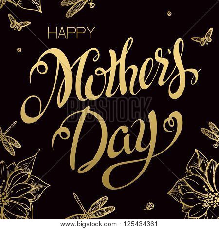 Happy Mother's Day Lettering,Typographical Design With Gold Backgrounds of Flowers. Isolate Symbols. Mothers Day Signs. Text Design.