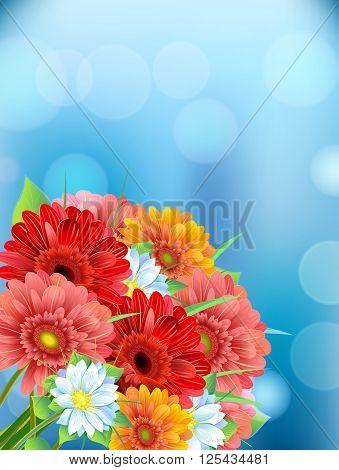 Bouquet of flowers gerbera, aster, daisy on blur background with the effect of light. Summer, springs time background, isolate.Vector illustration