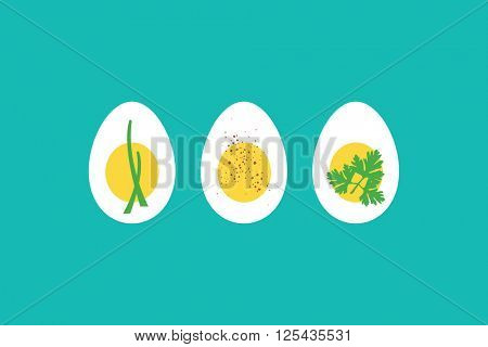 A trio of hard boiled egg horderves, with chives, paprika and parsley. EPS10 vector format.