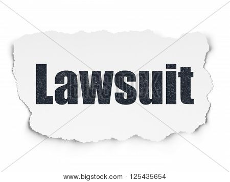 Law concept: Lawsuit on Torn Paper background