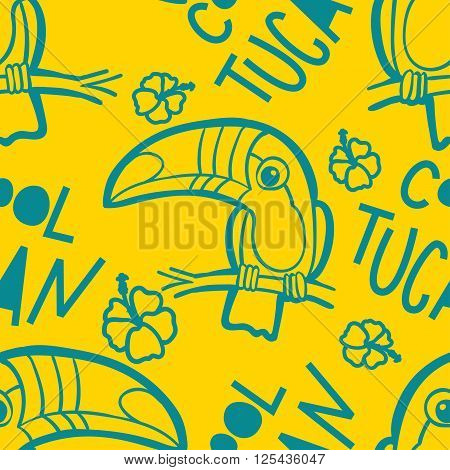 Toucan and Hibiscus. Tropical seamless pattern. Vector ornament in cartoon style. American bill ramphastida. Texture for scrapbooking wrapping paper web textile surface design fashion