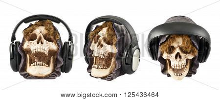 Headphones put on a ceramic skull head isolated over white background, set of three foreshortenings