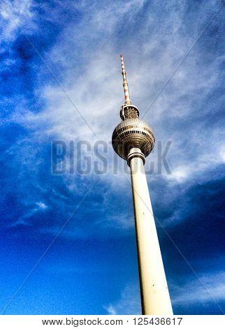 BERLIN, GERMANY- MAY 15: Tv tower or Fersehturm in Berlin on MAY 15, 2013. BERLIN, Germany.