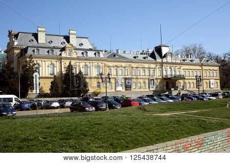 SOFIA, BULGARIA - MARCH 5, 2016: View to the building of National Art Gallery. The Sofia Palace was built in 1882 and then enlarged in 1894-1896