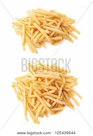 Pile of cooked golden yellow french fries potatoes isolated over the white background, set of two fore shortenings