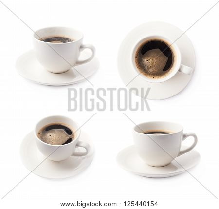 Fresh cup of black coffee on a white ceramic plate, composition isolated over the white background, set of four different foreshortenings