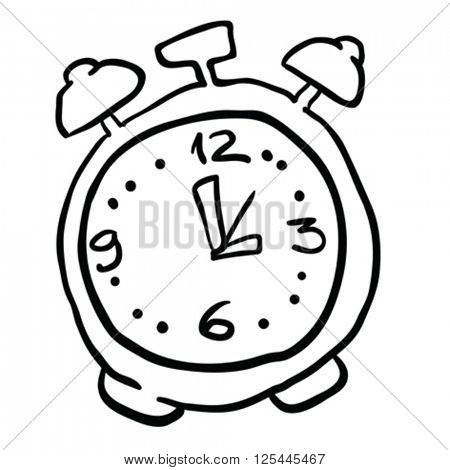 black and white alarm clock cartoon