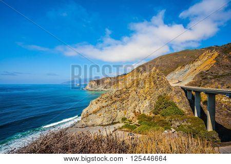 Pacific Coast Highway and Coast Ranges of California. Beautiful Viaduct Road Big Sur