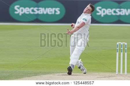 CHELMSFORD, ENGLAND - APRIL 11 2016: Josh Shaw of Gloucestershire during the Specsavers County Championship match between Essex and Gloucestershire at the County Ground in Chelmsford, England.