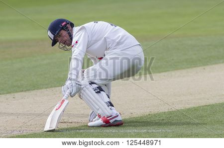 CHELMSFORD, ENGLAND - APRIL 11 2016: Alastair Cook of Essex runs a single during the Specsavers County Championship match between Essex and Gloucestershire at the County Ground in Chelmsford, England.