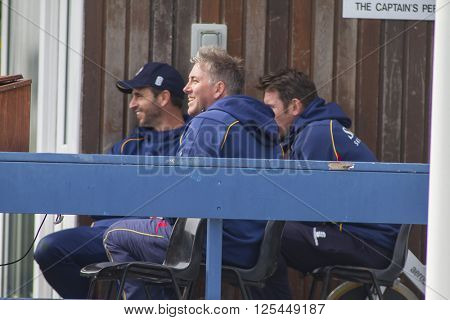 CHELMSFORD, ENGLAND - APRIL 11 2016: Chris Silverwood head coach of Essex during the Specsavers County Championship match between Essex and Gloucestershire at the County Ground in Chelmsford, England.