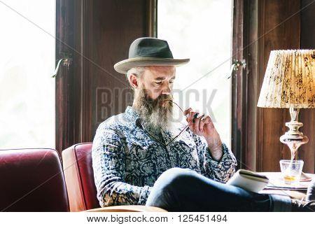 Senior Man Reading Working Liquor Alcohol Bar Concept