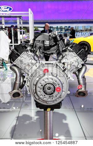 NEW YORK - MARCH 23: A Ford engine GT 350 5.2L V8 shown at the 2016 New York International Auto Show during Press day,  public show is running from March 25th through April 3, 2016 in New York, NY.
