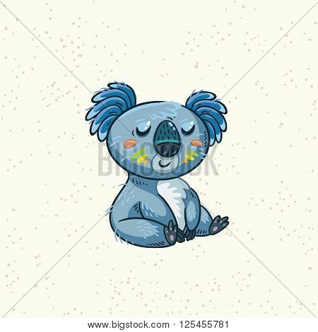 Cute Australian Koala Bear. Vector kid illustration. Art print