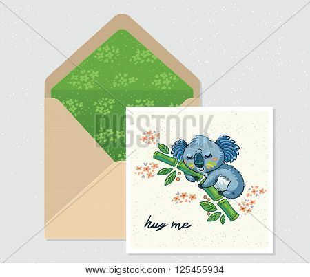 Hug me. Open envelope and card with cute Australian Koala Bear. Printable Vector Template. Card and envelope design.