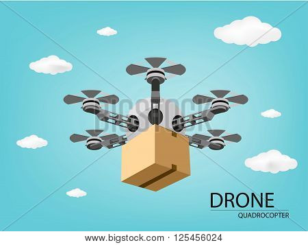 package box delivery in drone (vector eps10)