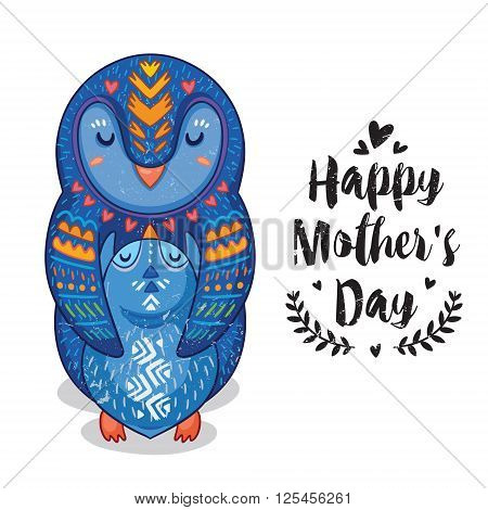 Happy mothers day card in cartoon style with penguins. Greeting card for mom with cute animals. Baby and mother together. Vector illustration.