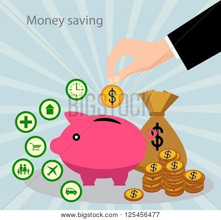 The concept of saving money. Money accumulation concept.