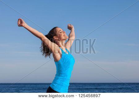 healthy freedom faith woman outdoors