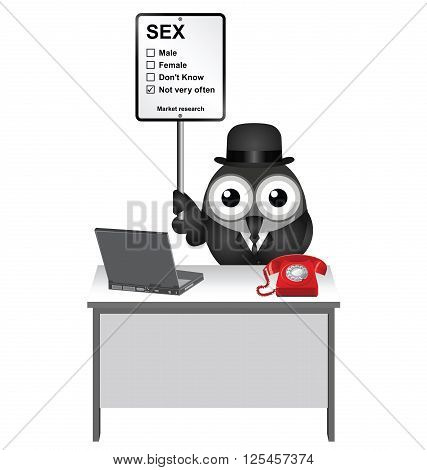 Comical market research sex sign with bird researcher sat at his desk