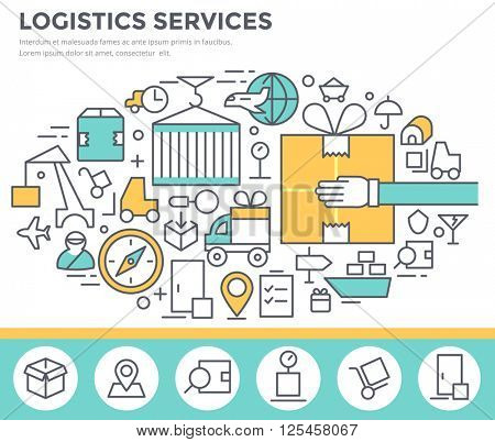 Logistics services  and delivery concept illustration thin line flat design