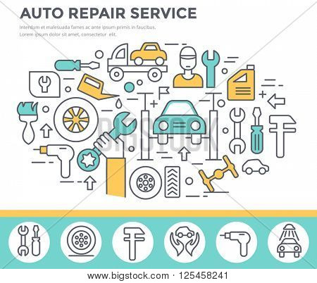Auto repair service concept illustration thin line flat design