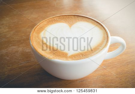 hot coffee with foam milk art of love(vintage effect) poster